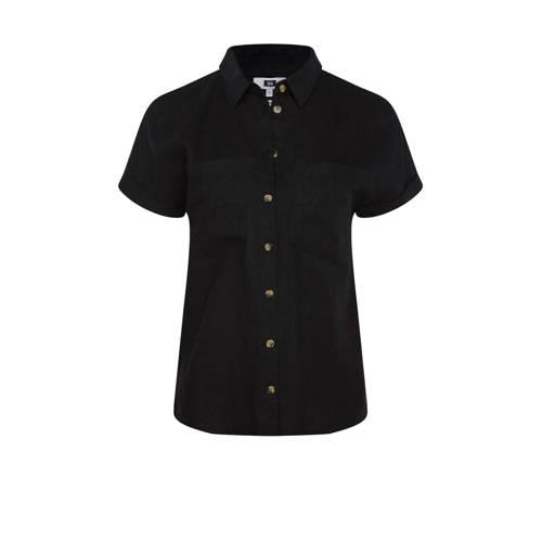 WE Fashion blouse met linnen zwart