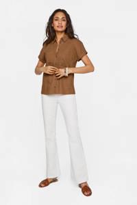 WE Fashion blouse met linnen bruin, Bruin