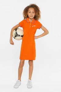 WE Fashion T-shirtjurk met tekst en borduursels oranje/wit/rood, Oranje/wit/rood