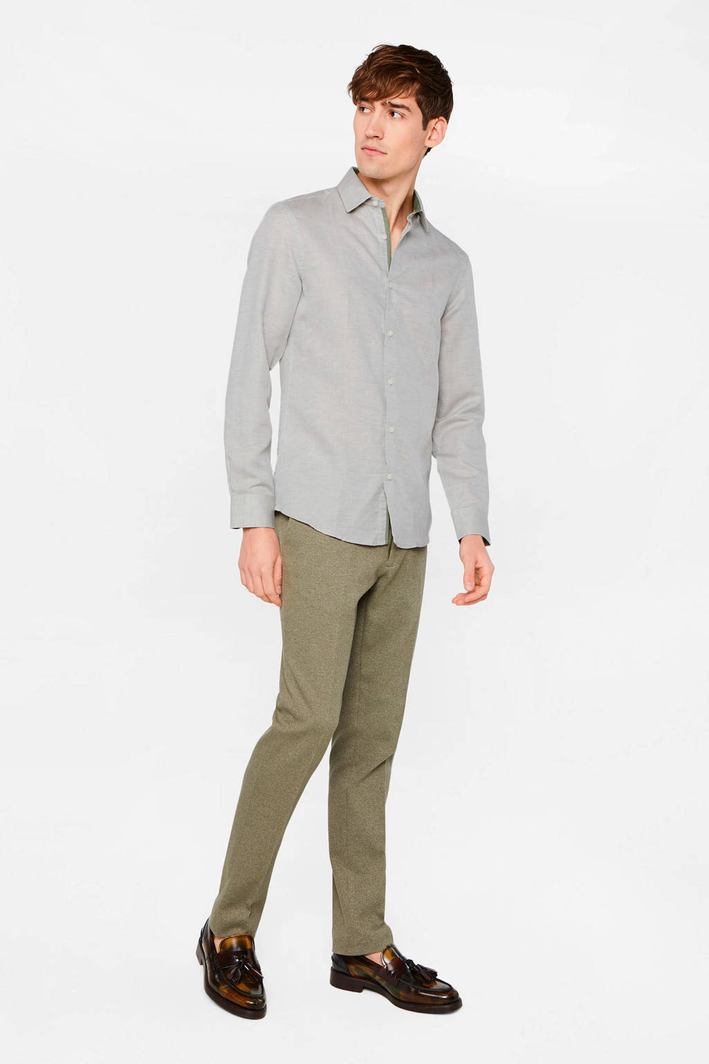 WE Fashion slim fit overhemd grijs, Grijs