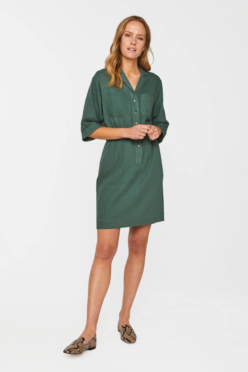 WE Fashion blousejurk met linnen donkergroen, Donkergroen
