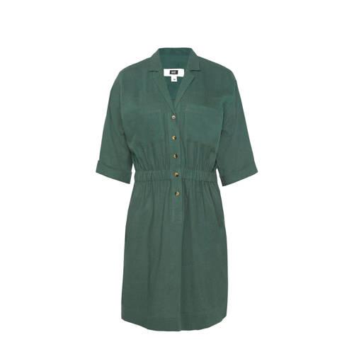 WE Fashion blousejurk met linnen donkergroen
