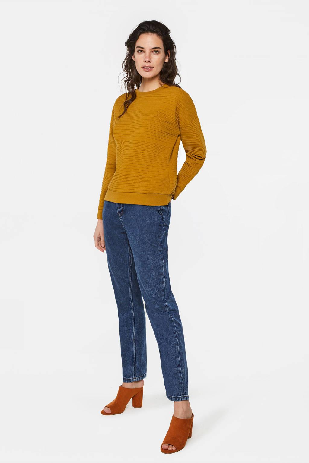 WE Fashion sweater met textuur mosterdgeel, Mosterdgeel