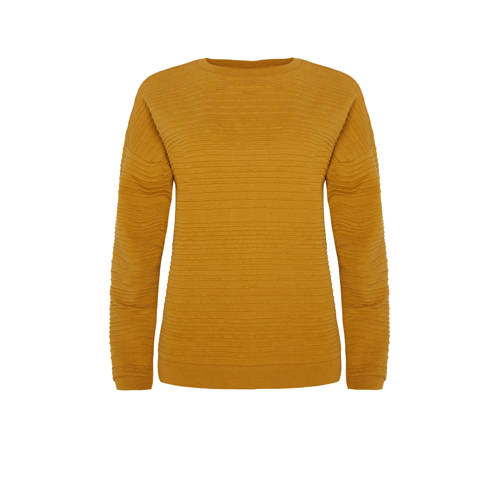 WE Fashion sweater met textuur mosterdgeel