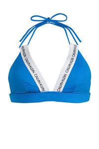 CALVIN KLEIN triangel bikinitop blauw/wit, Blauw/wit
