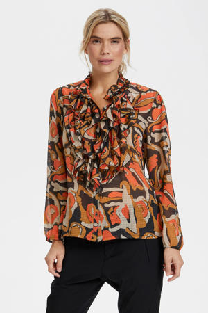 semi-transparante blouse met all over print en ruches zwart/ lichtbruin