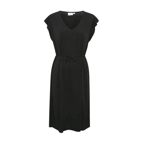 Saint Tropez jersey jurk Pam met volant zwart