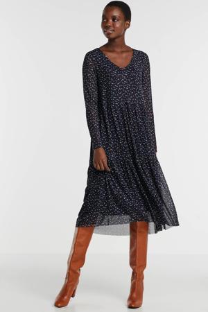 jurk met all over print en mesh donkerblauw