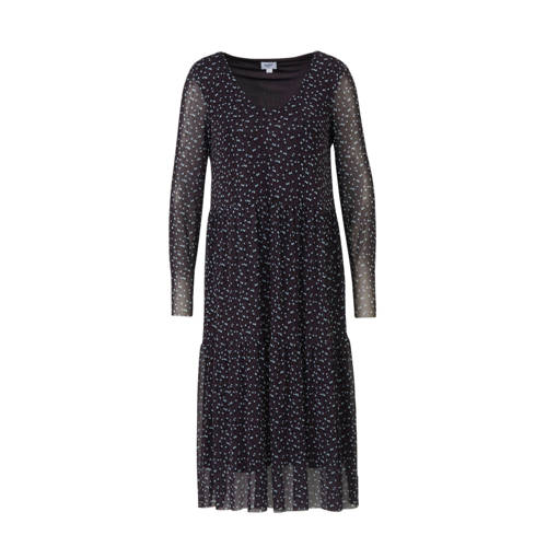 Saint Tropez jurk met all over print en mesh donke