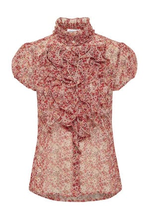 top Lilly met all over print en ruches roze