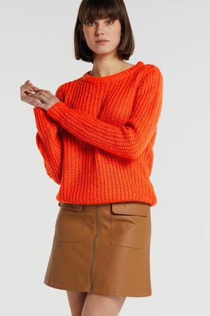 gemêleerde grofgebreide trui oranje