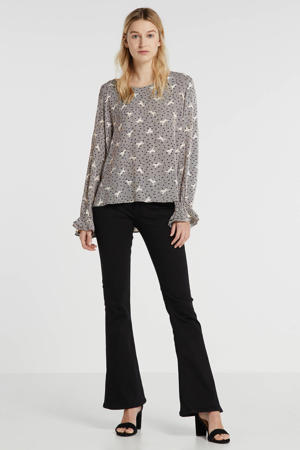 geweven top met all over print en ruches zwart/beige