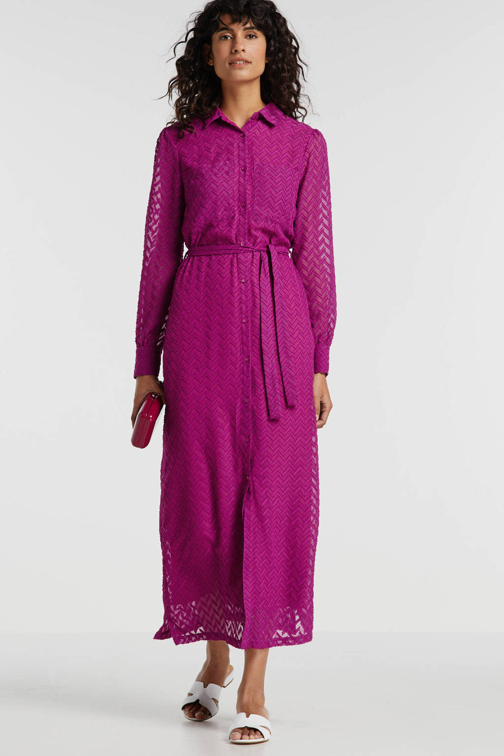 Another-Label semi-transparante maxi blousejurk met all over print paars, Paars