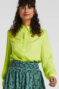 Another-Label blouse Maple Snake limegroen, Limegroen