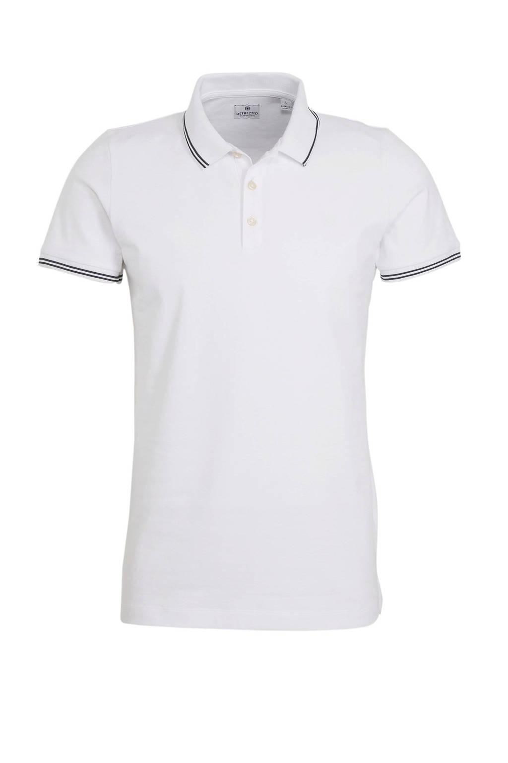 Dstrezzed regular fit polo met logo wit, Wit