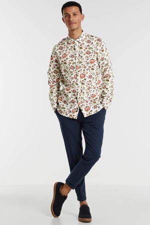 gebloemd regular fit overhemd wit