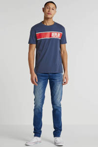 REPLAY T-shirt met printopdruk donkerblauw, Donkerblauw