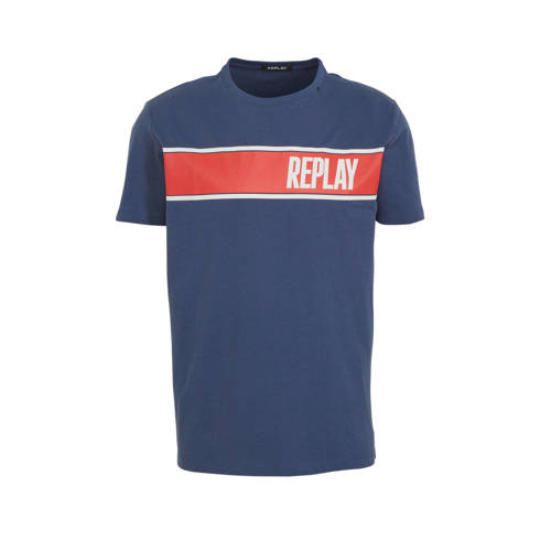 REPLAY T-shirt met printopdruk donkerblauw