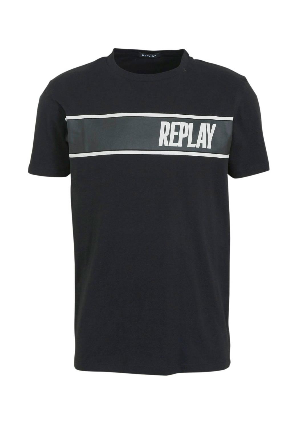 REPLAY T-shirt met printopdruk zwart, Zwart