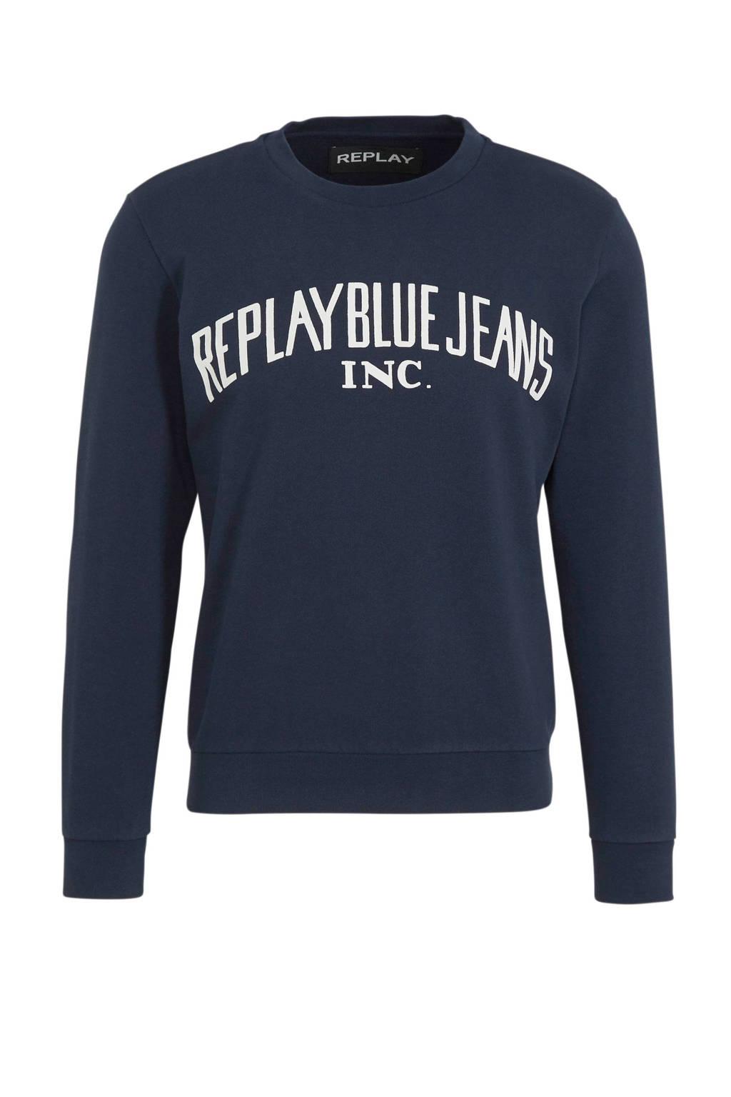 REPLAY sweater met logo donkerblauw, Donkerblauw