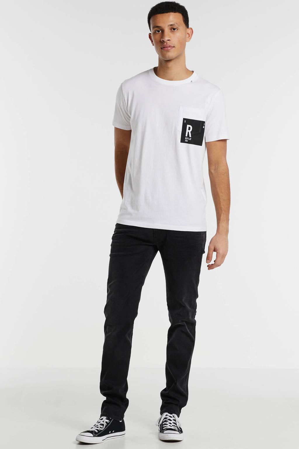 REPLAY T-shirt met logo wit, Wit