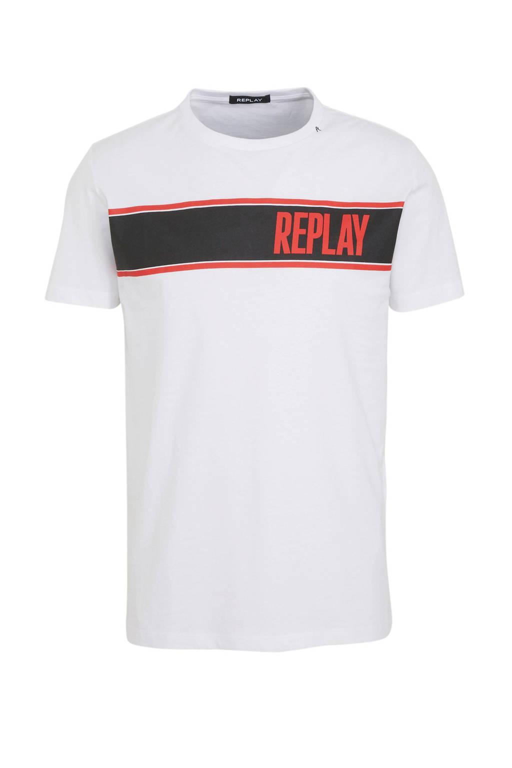 REPLAY T-shirt met printopdruk wit, Wit