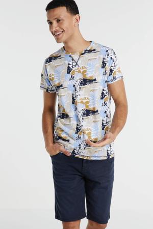 T-shirt met all over print lichtblauw/geel/zwart