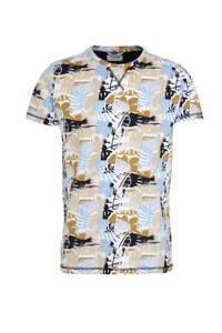 Dstrezzed T-shirt met all over print lichtblauw/geel/zwart, Lichtblauw/geel/zwart