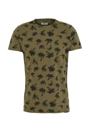 T-shirt met all over print kaki/zwart