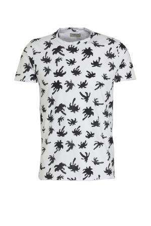 T-shirt met all over print wit/zwart