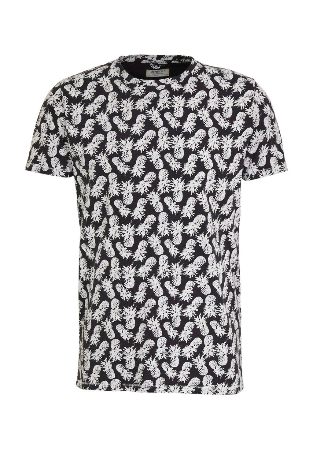 Dstrezzed T-shirt met all over print zwart/wit, Zwart/wit