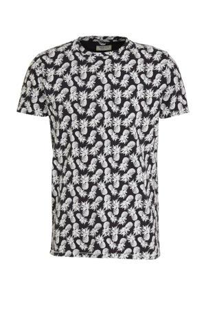 T-shirt met all over print zwart/wit