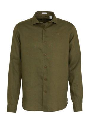 linnen regular fit overhemd donkergroen