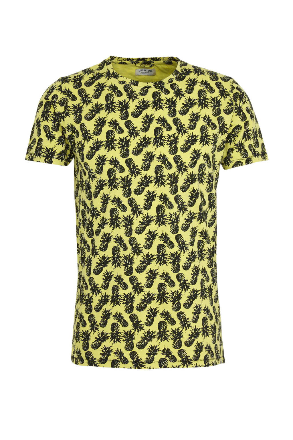 Dstrezzed T-shirt met all over print geel/zwart, Geel/zwart