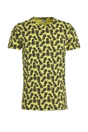 T-shirt met all over print geel/zwart