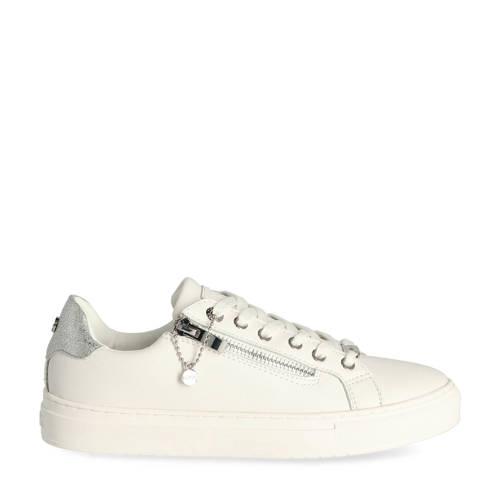 Mexx Ellenore leren sneakers wit/zilver