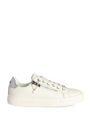 Ellenore  leren sneakers wit/zilver
