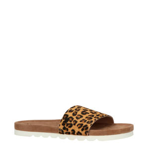 Ebba  leren slippers met panterprint bruin