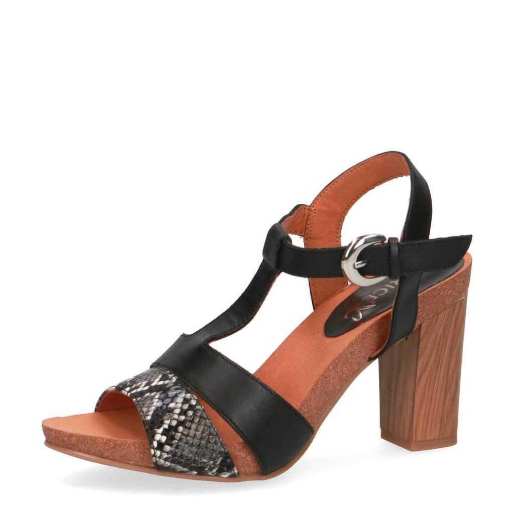 Caprice Kenia  leren sandalettes zwart/slangenprint, Zwart/grijs