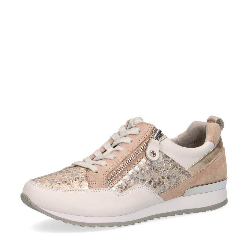Caprice Ginga  leren sneakers beige/goud, Beige/goud