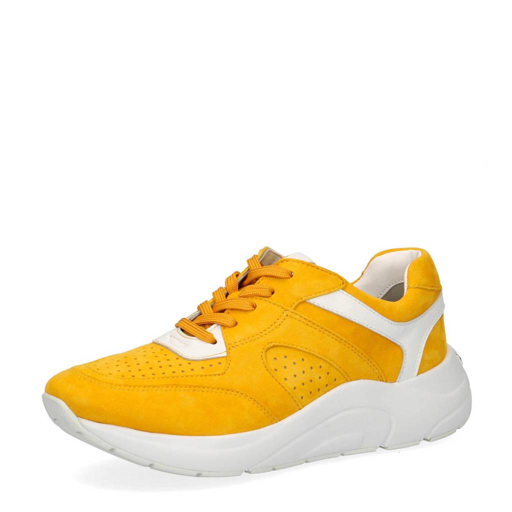 Caprice Kiss  suède sneakers geel/wit, Geel/wit