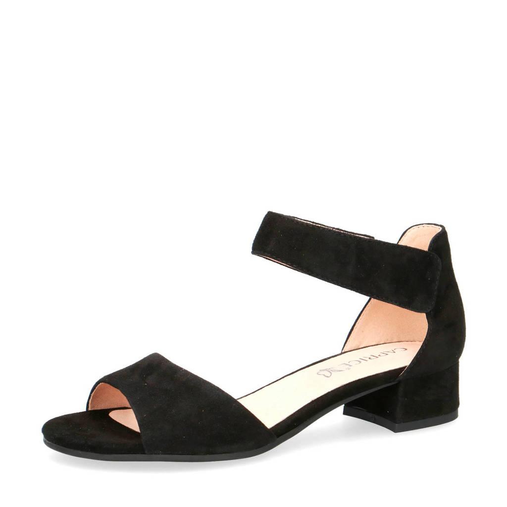 Caprice Carla  suède sandalettes zwart, Zwart