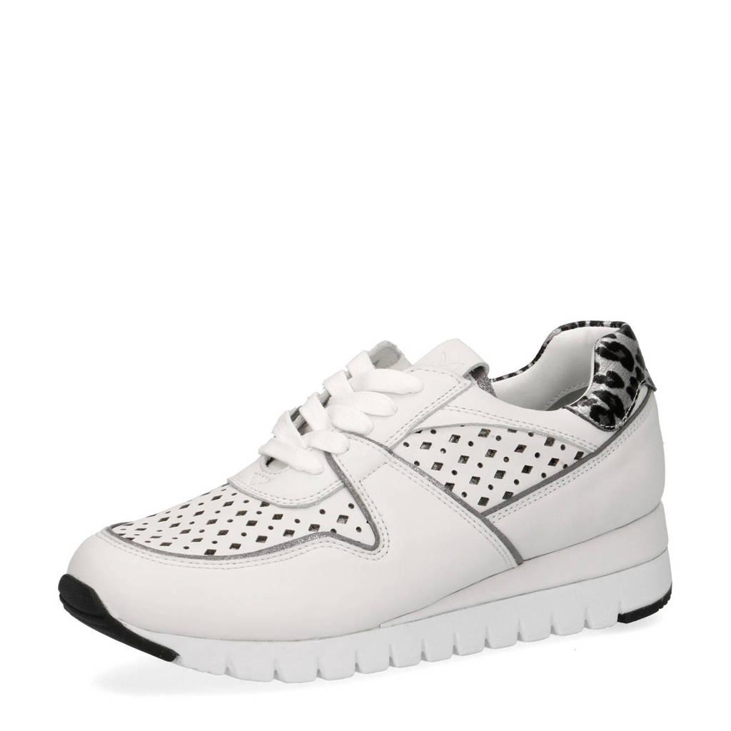 Caprice Ibiza  leren sneakers wit/panterprint, Wit