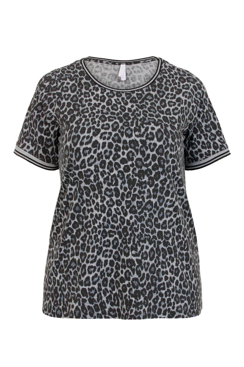 Miss Etam Plus T-shirt met all over print grijs, Grijs