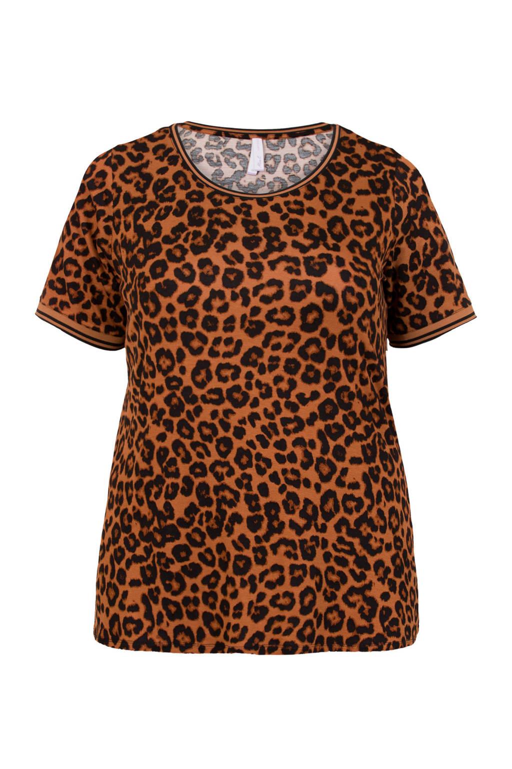 Miss Etam Plus T-shirt met all over print bruin, Bruin