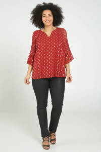 Paprika top met all over print rood, Rood