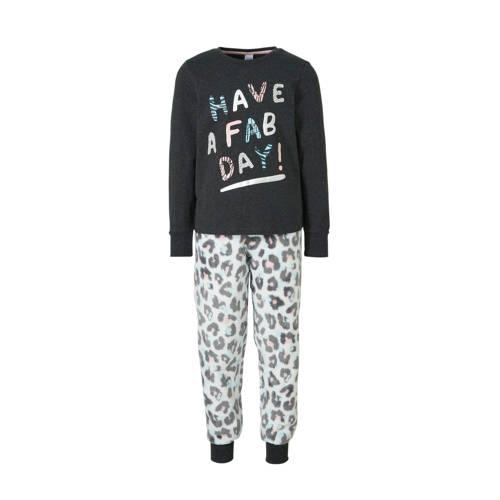 C&A Here & There pyjamabroek en longsleeve antraciet-wit-roze