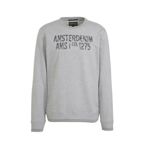 Amsterdenim sweater Simon met tekst grijs/antracie