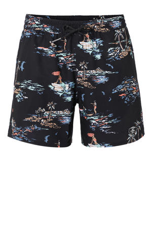 zwemshort Tropical met all over print zwart/wit