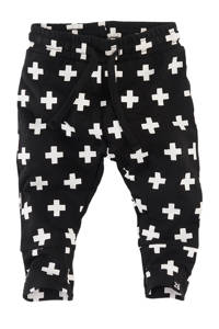 Z8 newborn joggingbroek Mundo met all over print zwart/wit, Zwart/wit